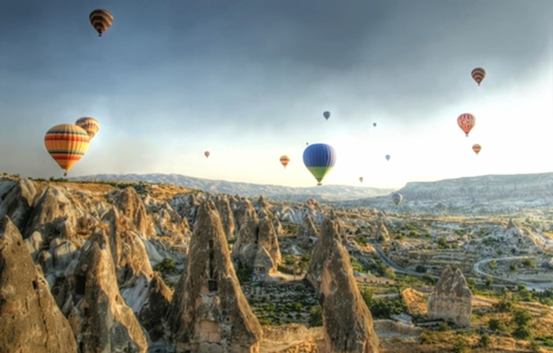 Enjoy a romantic balloon ride in Turkey.