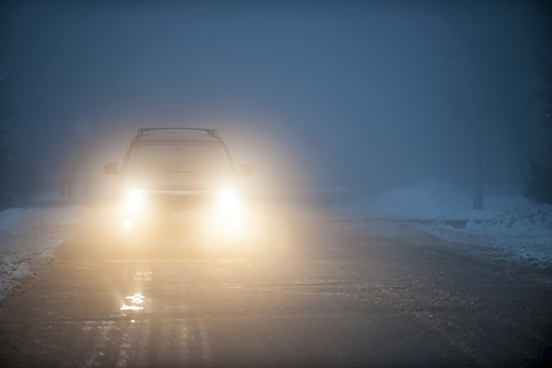 Reduce speed as soon as your visibility is inhibited.