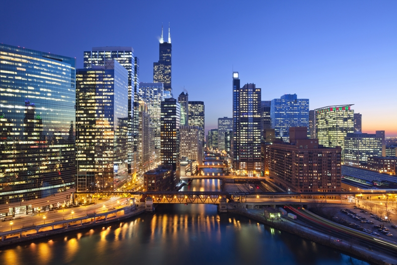 Enjoy the sights of Chicago as you settle in.