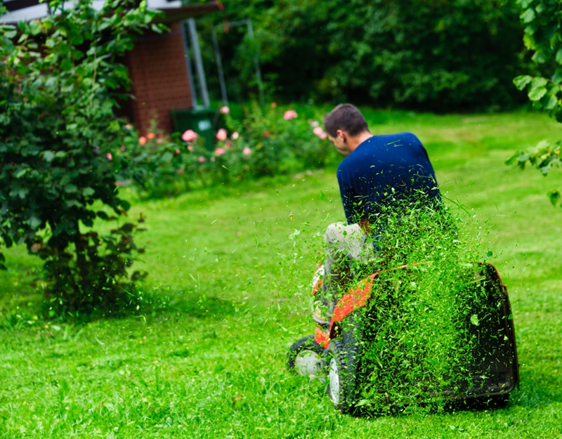 Mowing the lawn without ear muffs can be dangerous for your ears.