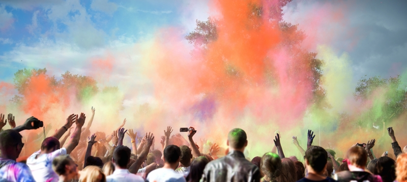 Get colourful at Holi in New Delhi.