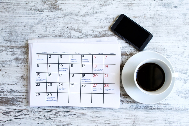 Whether it's paper or digital, setting a schedule can help you stay on top of things.