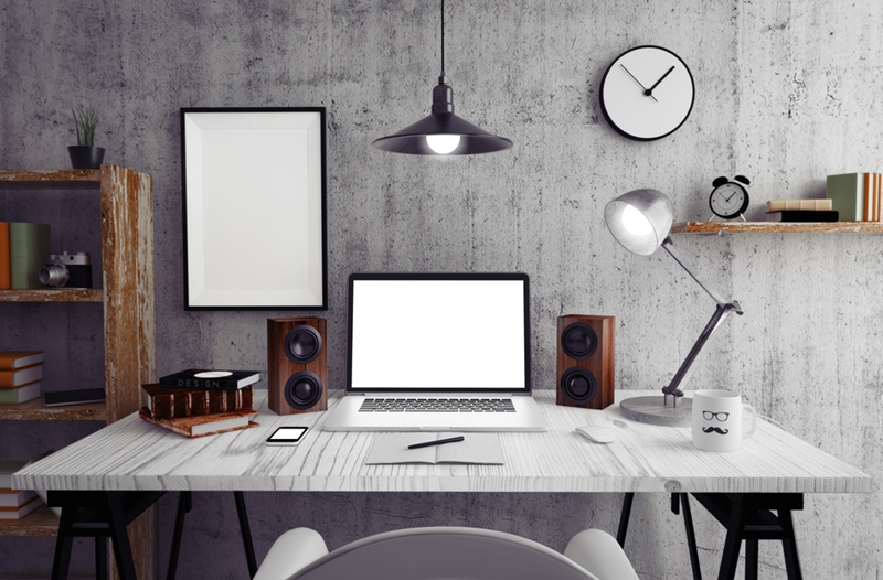 Separating your work space from your living space is key for being productive at home.