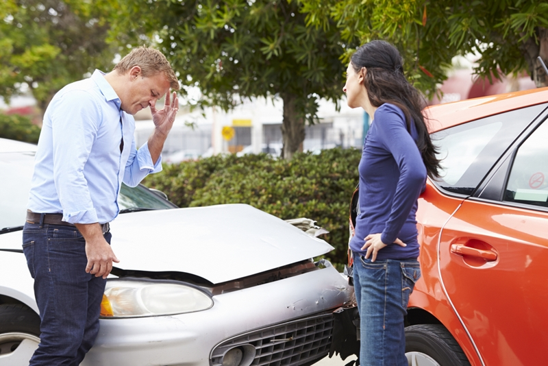 It's important to keep your cool when exchanging details after an accident.