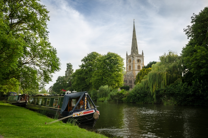 Holy Trinity Church looks over the tranquil River Avon in the centre of Stratford-upon-Avon.