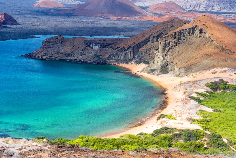 The lush terrain of Galapagos Islands is explored with wet and dry landings by zodiac boats.