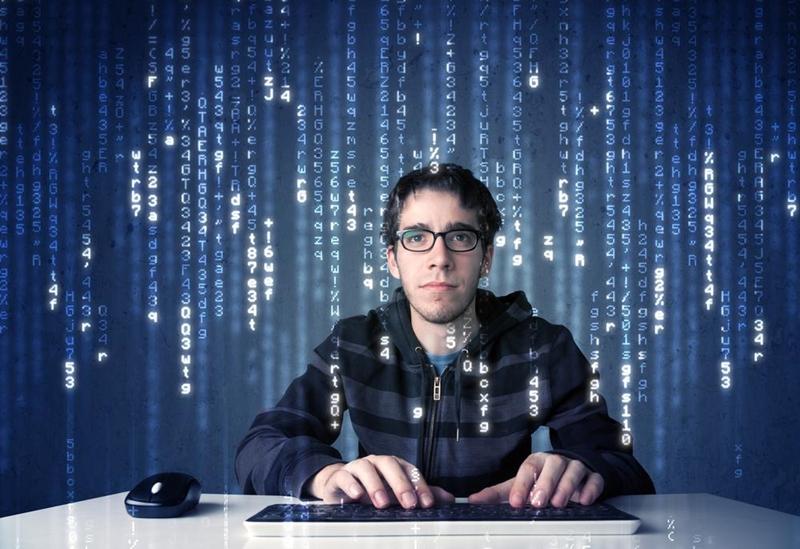 Hacker hacking.