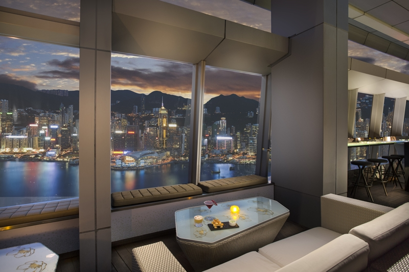 The Ritz-Carlton provides views out to Victoria Harbour.