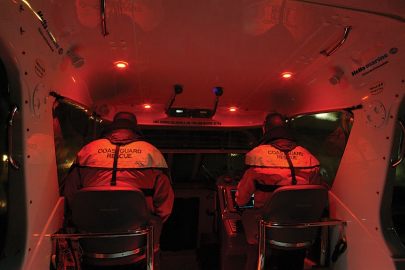Red lighting will not affect your night vision as much as harsh white lights.