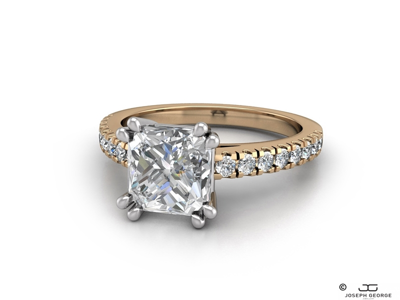 Our glamorous Timothea engagement ring with a radiant cut diamond.
