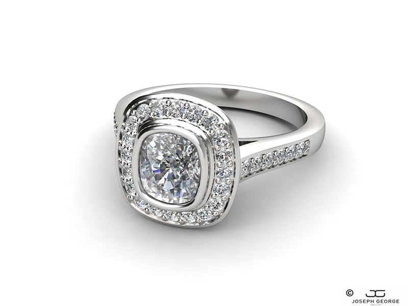The Kalliope engagement ring with a glittering cushion diamond.