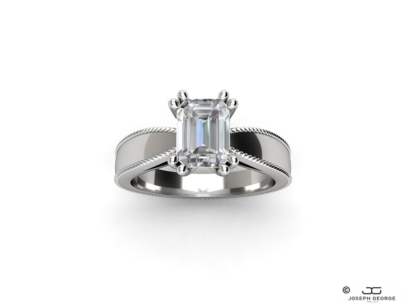 The Themis ring features a mesmerising emerald cut diamond.