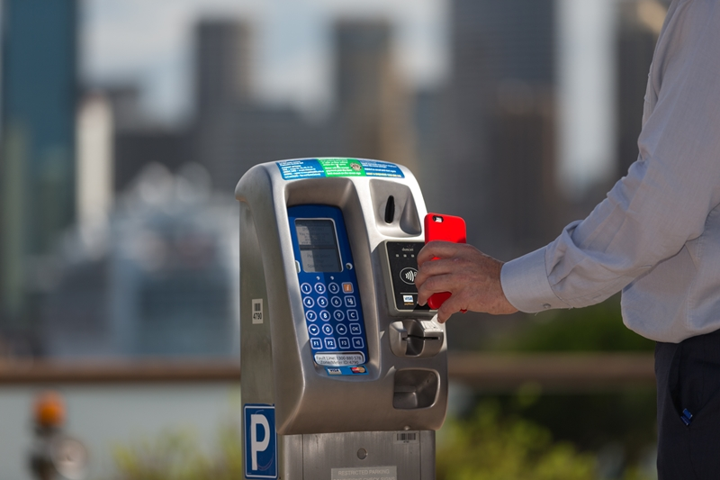 Contactless payments on a VX parking meter.