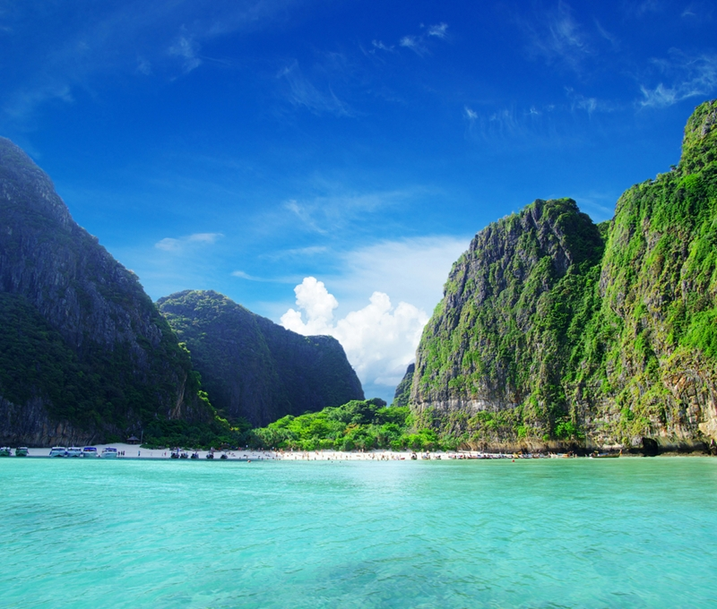 Maya Bay hosts the remarkable turquoise waters and lush landscape the was featured in The Beach.