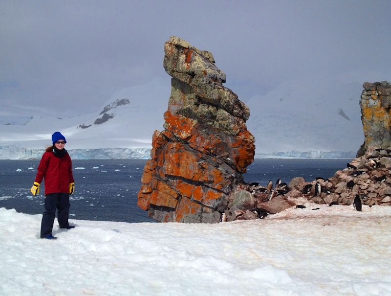 One of our younger travellers exploring Antarctica's Half Moon Island.