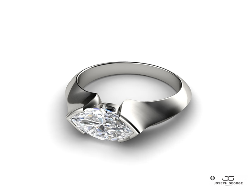 Our Eugenia engagement ring features a stunning marquise diamond.