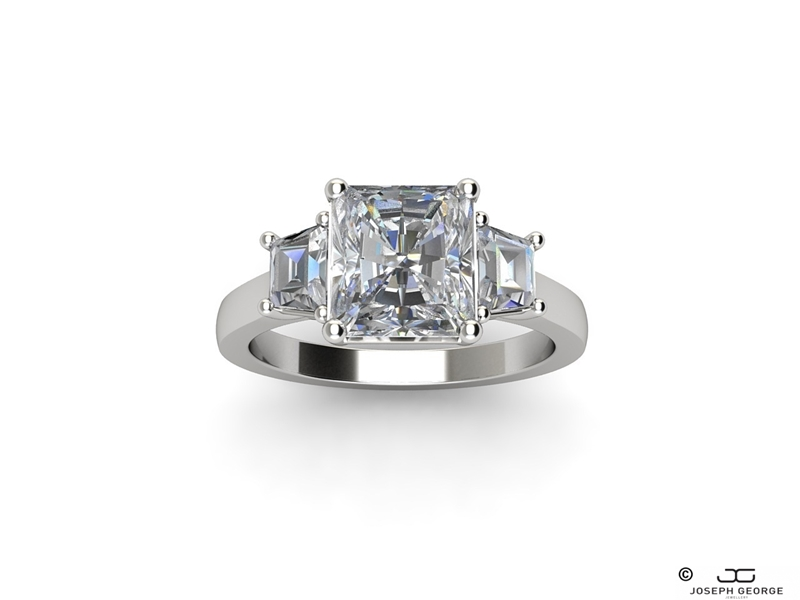 A regal princess cut diamond is at the heart of the Eris Engagement ring.