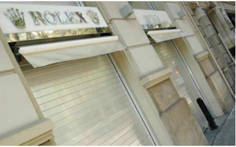 High value retail stores prefer Gunnebo roller shutters.