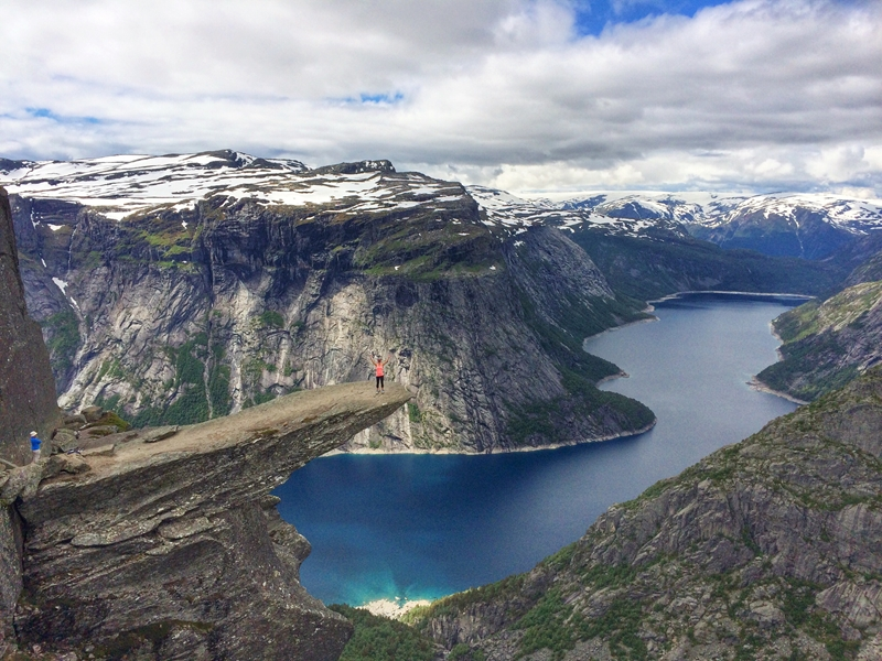 """""""Trolltunga"""", the """"Troll's Tongue"""", situated 1,100 metres above sea level and accessible only after hiking for 10-12 hours through the mountains."""