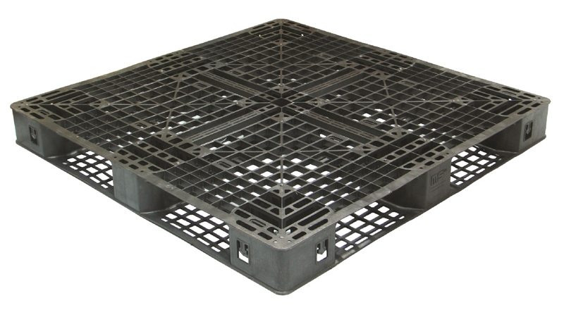 A plastic pallet may have a top and bottom deck, with multiple points of support.