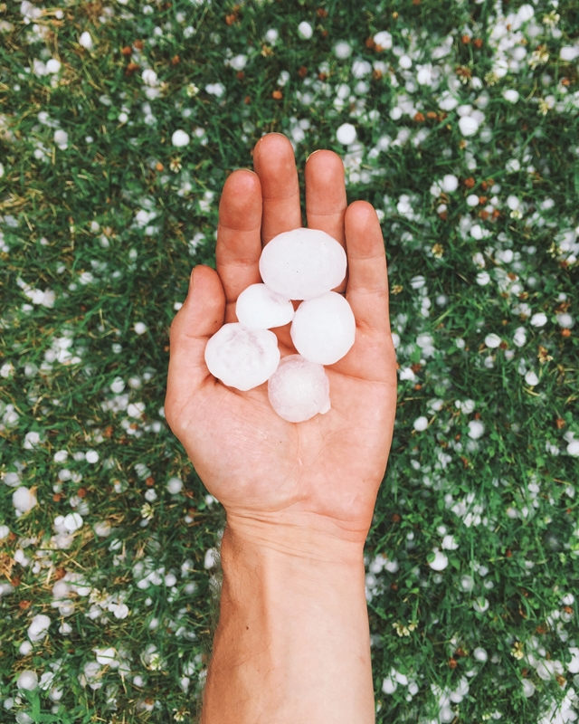 Hailstones of any size can be a hazard for farmers and their crops.