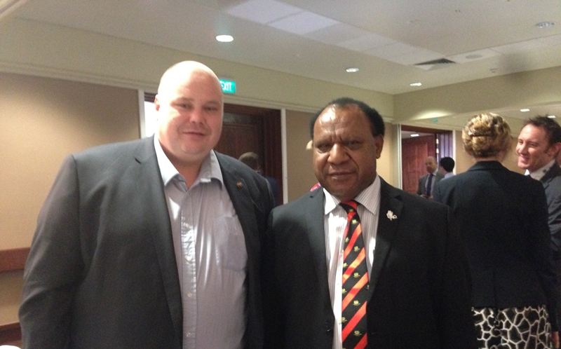 Tradestaff Global's Paul Pledge with PNG Foreign Minister Rimbink Pato.