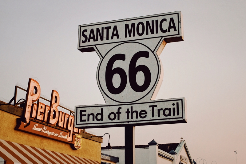 A sign in Santa Monica signalling the end of Route 66.
