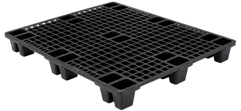 Skids, or nestable pallets, stack together for efficient storage.