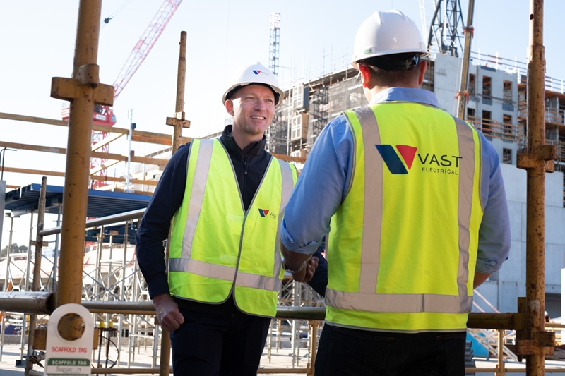 Vast Electrical Director David Cosca and Senior Project Manager James Warburton at the EBV site