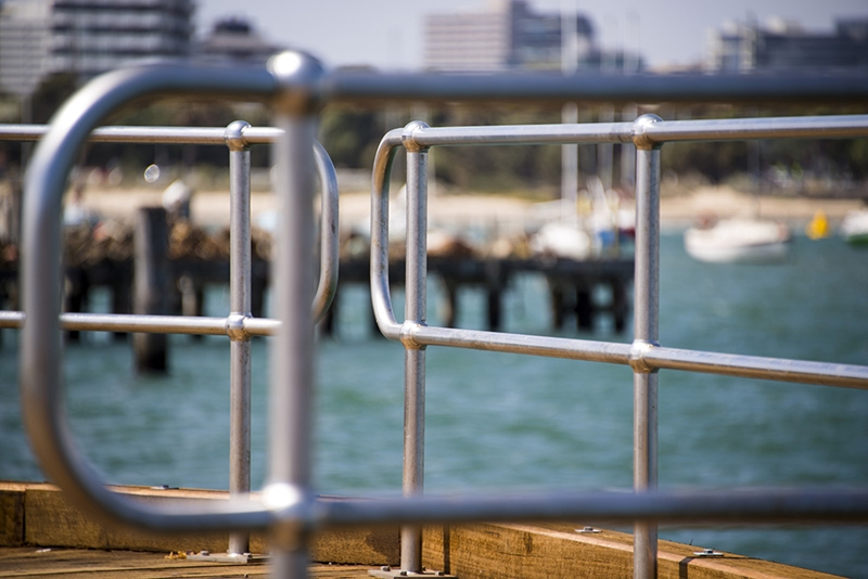 Handrails at the end of a pier.